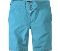 Herren Hose Shorts Rennes Baumwolle türkis blau