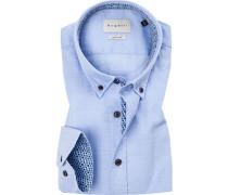 Hemd, Modern Fit, Baumwolle, bleu gemustert