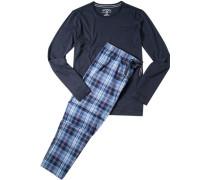 Schlafanzug Pyjama Baumwolle navy kariert