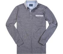Polo-Shirt Polo Baumwoll-Pique dunkelgrau meliert
