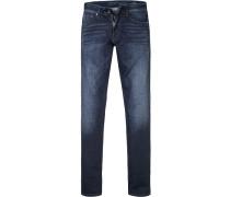 Blue-Jeans, Slim Fit, Baumwoll-Stretch, dunkelblau