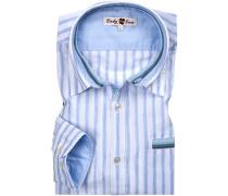 Hemd, Leinen, weiß-hellblau gestreift