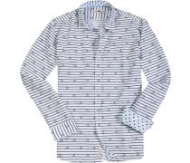 Hemd, Popeline, weiß- gemustert