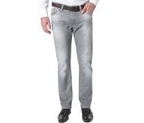 Herren Jeans Modern Fit Baumwoll-Stretch hellgrau