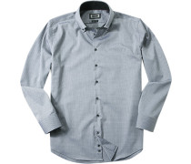Herren Hemd Modern Fit Strukturgewebe grau gemustert