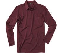 Polo-Shirt Zip-Polo Pima Baumwoll-Piqué weinrot meliert