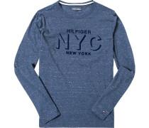T-Shirt Long-Sleeve, Baumwolle, navy meliert