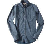 Herren Hemd Oxford azurblau-taupe paisley