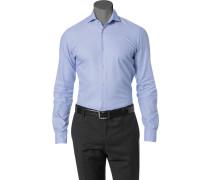 Hemd Slim Fit Baumwolle hellblau-weiß gemustert