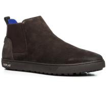Schuhe Chelsea Boots, Veloursleder, dunkelbraun