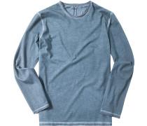 Herren T-Shirt Longsleeve Baumwolle indigo meliert blau