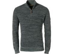 Pullover Troyer, Baumwolle, rauchblau meliert