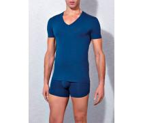 T-Shirt Baumwoll-Stretch dunkelblau