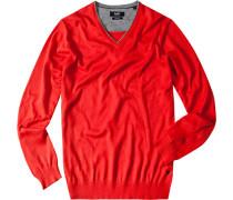 Herren Pullover Baumwolle-Seide rot