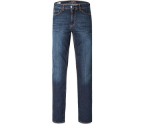 Jeans Straight Fit Baumwoll-Stretch dunkelblau
