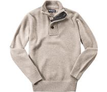 Pullover Troyer Lammwolle beige meliert