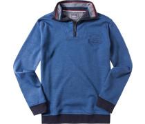 Pullover Troyer, Baumwolle, dunkelblau meliert