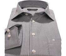 Herren Hemd Popeline weiß-grau gestreift