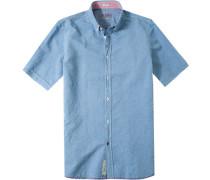 Herren Oberhemd Modern Fit Strukturgewebe himmelblau