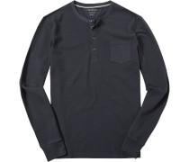 T-Shirt Longsleeve Shaped Fit Baumwolle dunkelblau