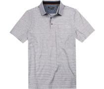 Polo-Shirt Polo Baumwoll-Pique hellblau-weiß gestreift