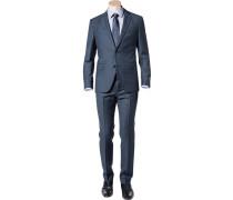 Herren Anzug Regular Fit Schurwolle Super100 dunkelblau gemustert