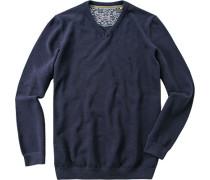 Pullover Pulli Baumwolle marine meliert