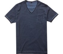 Herren T-Shirt Baumwolle petrol-schwarz gestreift blau