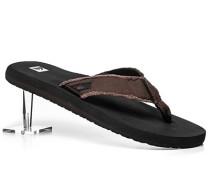 Schuhe Zehensandalen Canvas dunkelbraun-schwarz