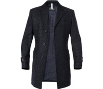 Mantel Wolle-Mohair dunkelblau meliert
