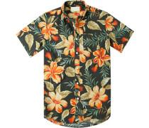 Hemd, Chambray, schwarz- gemustert