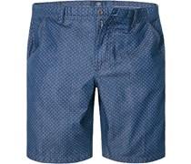 Herren Hose Shots Baumwolle indigo gemustert blau