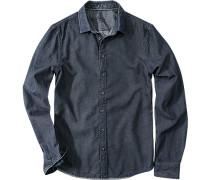 Herren Hemd Slim Fit Oxford blau