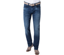 Jeans Regular Fit Baumwoll-Stretch jeansblau