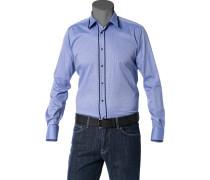 Herren Hemd Slim Fit Strukturgewebe hellblau gemustert