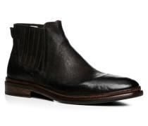 Herren Schuhe Chelsea Boots Büffelleder genarbt testa di moro braun,rot
