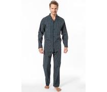 Herren Schlafanzug Pyjama Baumwolle marine-grün kariert