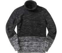 Herren Pullover Regular Fit Baumwoll-Mix schwarz-weiß