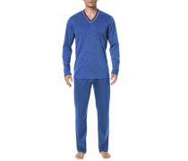 Herren Schlafanzug Pyjama Baumwolle in 2 Farben blau,weiß