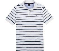 Polo-Shirt Polo Baumwoll-Jersey -blau gestreift