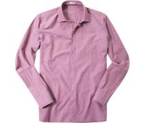 Herren Hemd Modern Fit Strukturgewebe orchidee gemustert rosa