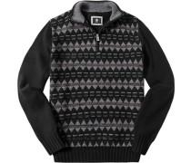 Pullover Troyer Schurwolle -grau gemustert