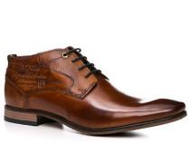 Herren Schuhe Stiefelette Leder cognac braun,rot