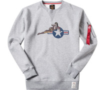 Sweatshirt Baumwolle hellgrau meliert