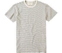 Herren T-Shirt Baumwolle beige-schwarz gestreift