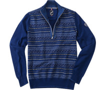 Herren Pullover Troyer Woll-Mix blau blau,blau