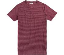 T-Shirt Baumwolle bordeaux gestreift
