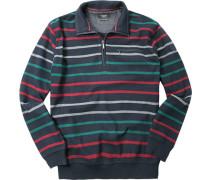 Pullover Troyer, Baumwolle, dunkelblau gestreift