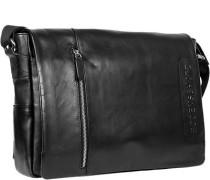 Herren Tasche  Messenger Bag Leder schwarz