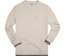 Pullover Sweater, Baumwolle, wollweiß-hellgrau meliert